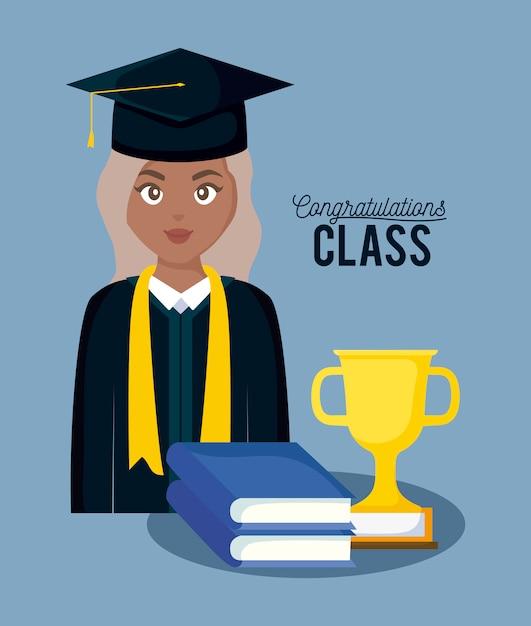 Scheda di celebrazione della classe di laurea con ragazza laureata Vettore Premium