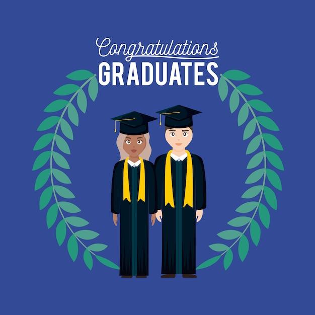 Scheda di celebrazione di laurea con coppia laureata e corona Vettore Premium
