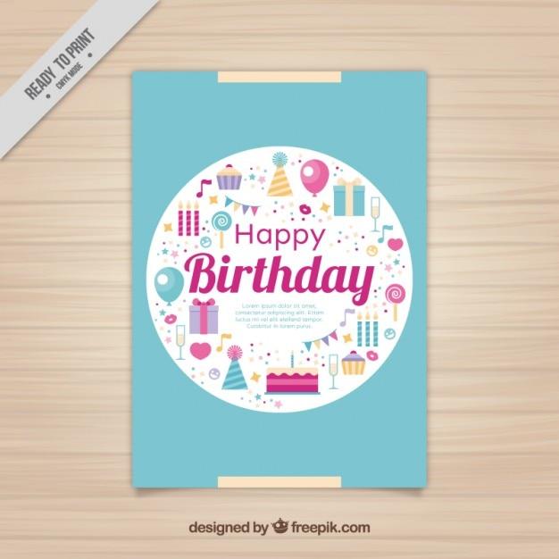 Scheda di compleanno con elementi piani Vettore gratuito