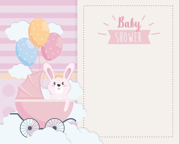 Scheda di coniglio carino in carrozza e palloncini Vettore gratuito