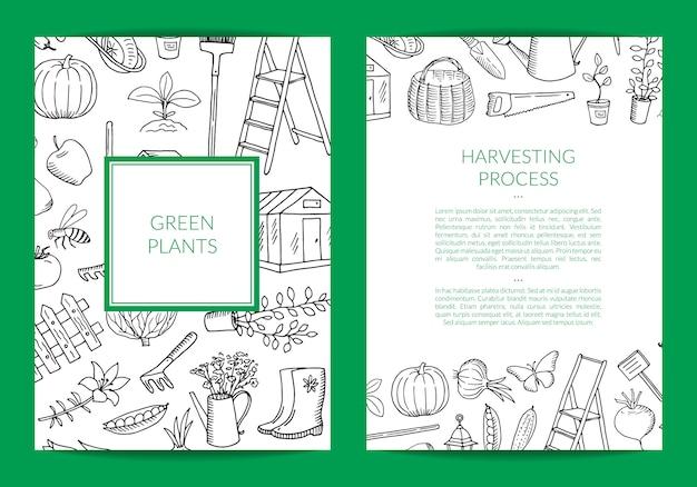 Scheda di doodle di giardinaggio di vettore, modello di volantino Vettore Premium