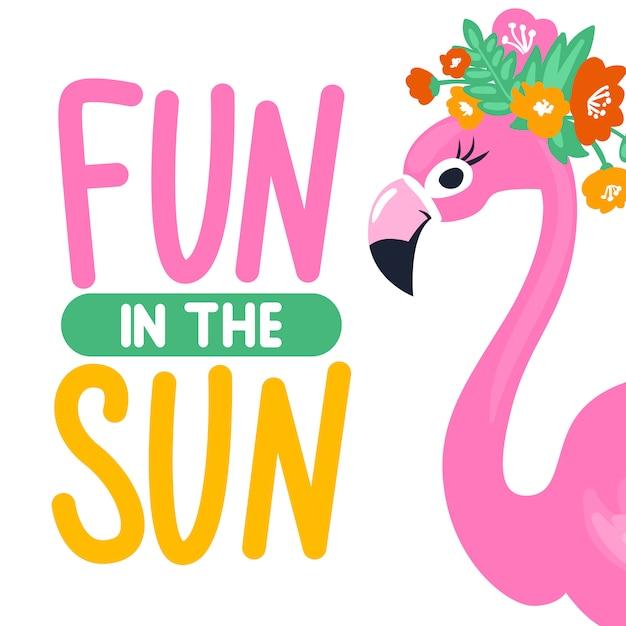 Scheda di estate di vettore con buffo fenicottero rosa. illustrazione di tendenza Vettore Premium