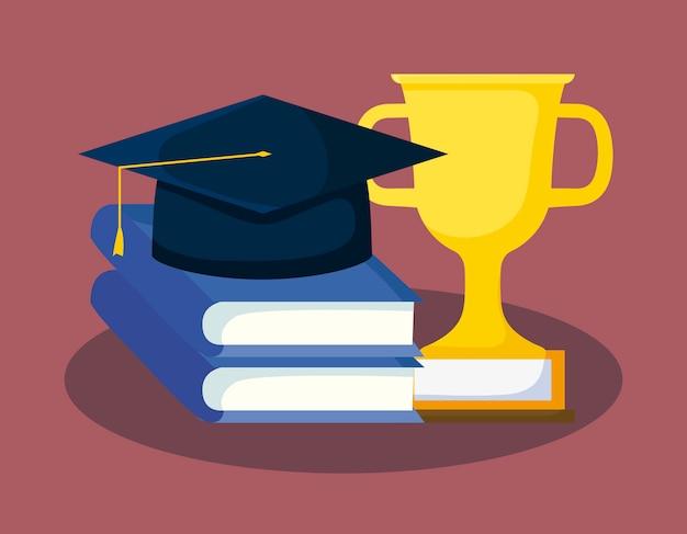 Scheda di graduazione con libri e cappello di laurea Vettore Premium