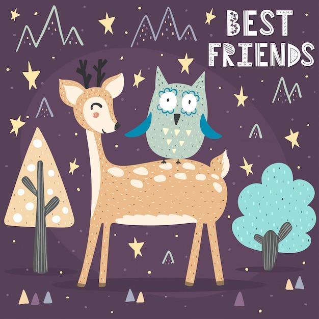 Scheda di migliori amici con un simpatico cervo e gufo Vettore Premium
