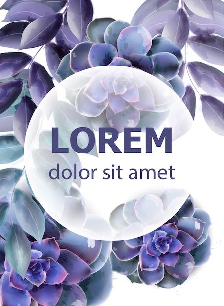 Scheda di primavera con acquerello succulente fiore blu Vettore Premium