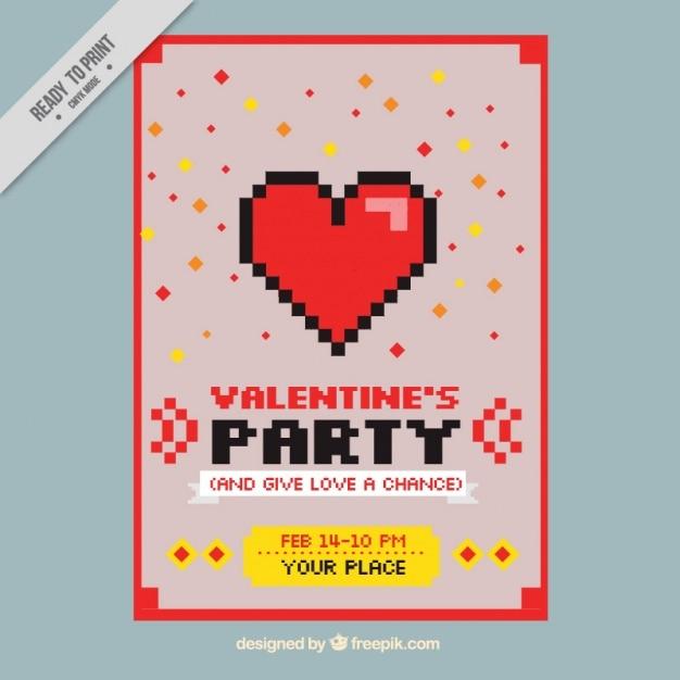 Scheda di san valentino in stile pixel art Vettore gratuito