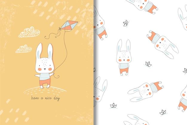 Scheda disegnata a mano di piccolo coniglio e reticolo senza giunte. illustrazione di bambini Vettore Premium
