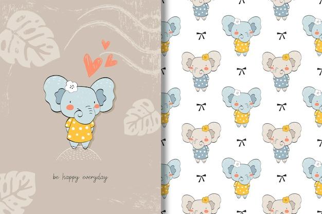 Scheda e priorità bassa dell'elefante animale del bambino sveglio. personaggio dei cartoni animati disegnato a mano. Vettore Premium
