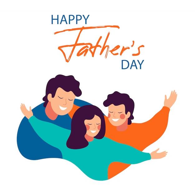 Scheda felice di giorno del padre di giovane padre sorridente che abbraccia i suoi bambini con amore Vettore Premium