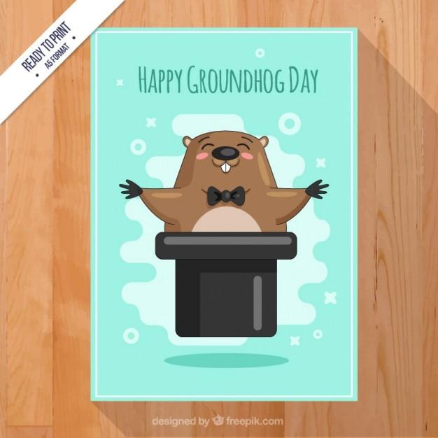 Scheda felice di groundhog day Vettore gratuito
