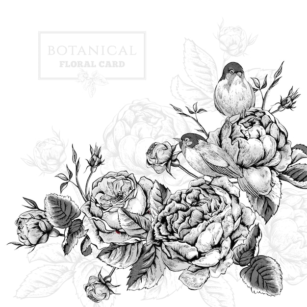Scheda floreale in stile vintage con fioritura inglese rose e uccelli Vettore Premium