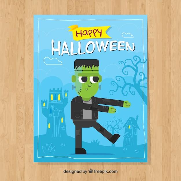 Scheda halloween divertente con zombie Vettore gratuito