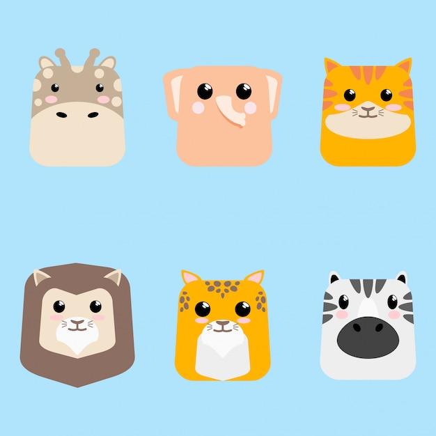 Scheda imposta di icona animale del bambino sveglio del fumetto Vettore Premium