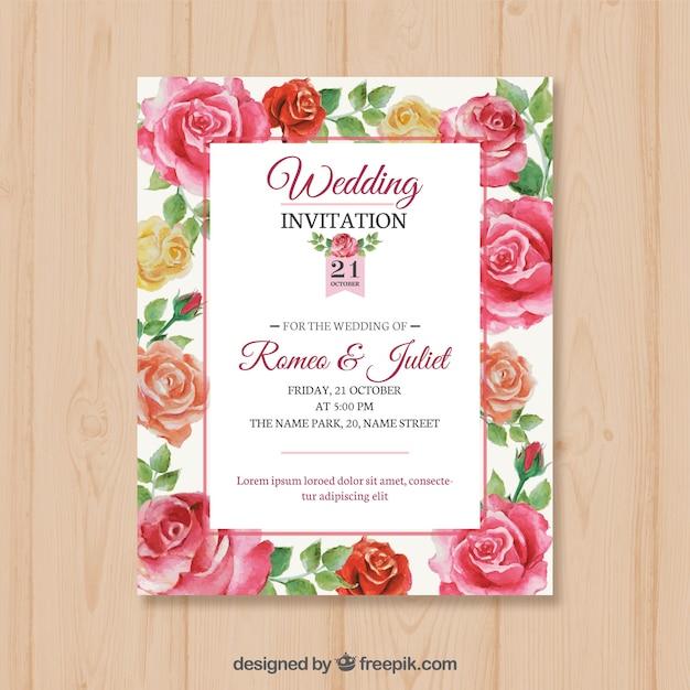 Scheda matrimonio con rose disegnate a mano Vettore gratuito