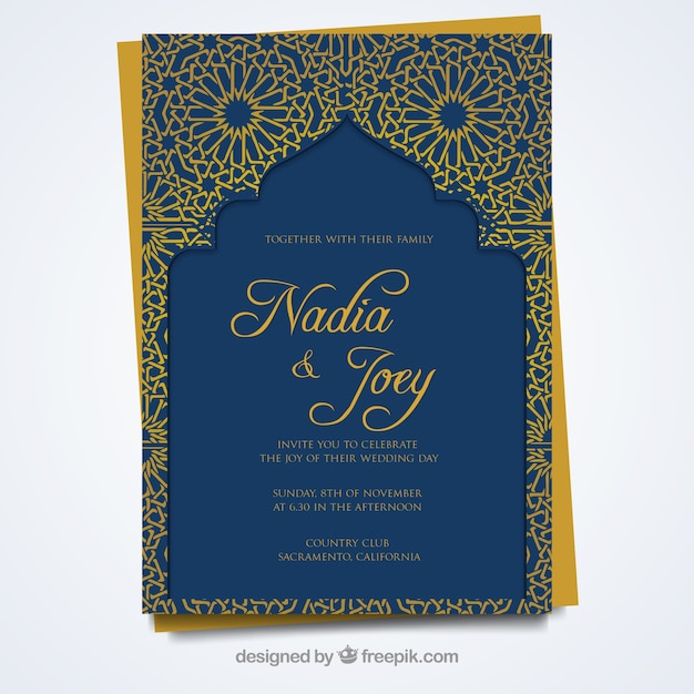 Scheda matrimonio con stile arabo Vettore gratuito