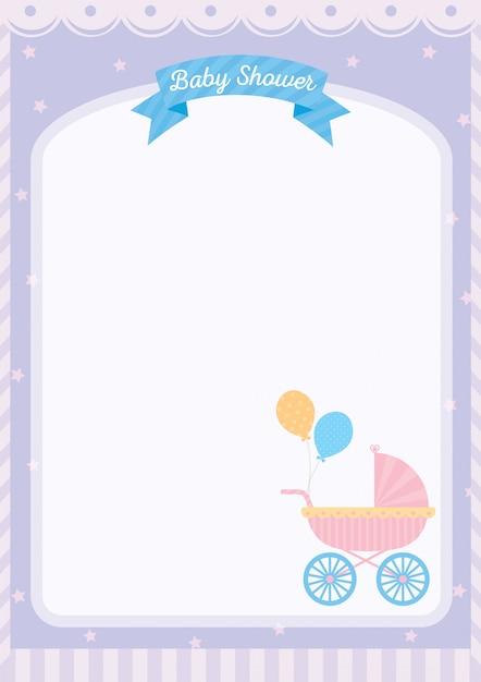 Scheda modello baby shower decorata con carrozzina Vettore Premium