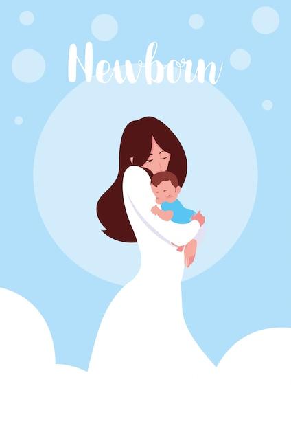 Scheda neonato con mamma e figlio piccolo carino Vettore Premium