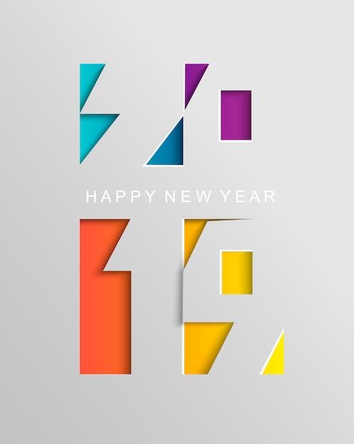 Scheda per il 2019 felice anno nuovo in stile cartaceo Vettore Premium