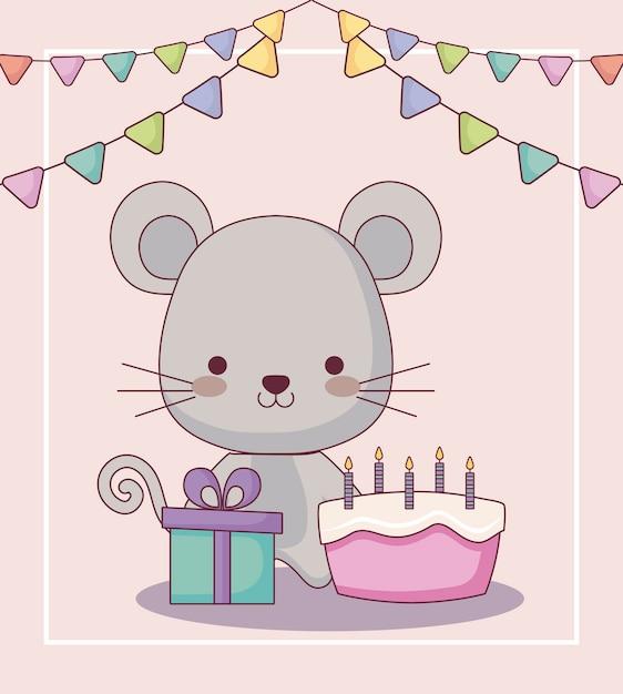 Scheda sveglia di buon compleanno del mouse Vettore Premium