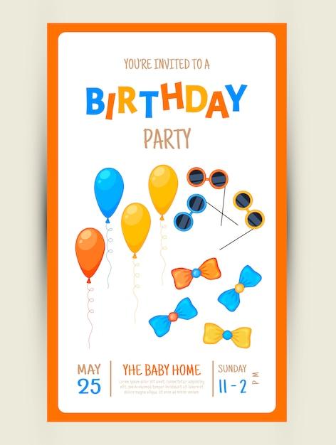 Scheda variopinta dell'invito del partito con oggetti festivi su una priorità bassa bianca. Vettore Premium