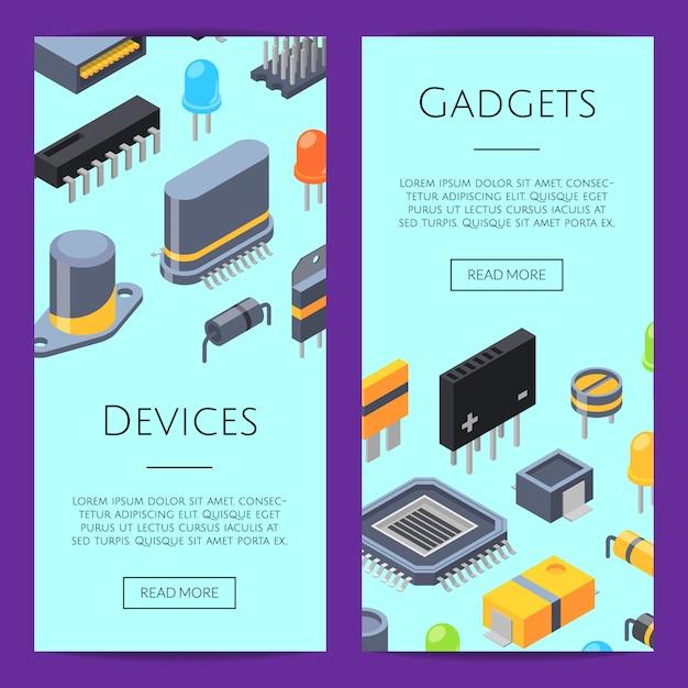 Schede elettroniche. microchip e parti elettroniche Vettore Premium