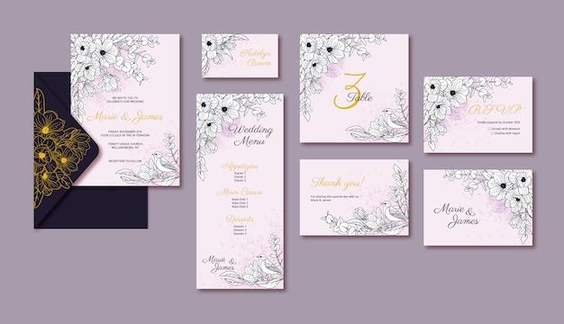 Schede modello matrimonio elegante con fiore di magnolia Vettore Premium