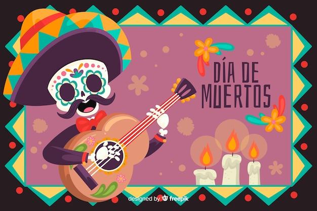 Scheletro con chitarra e sombrero sfondo Vettore gratuito