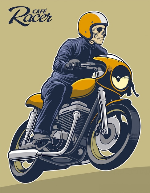 Scheletro dell'illustrazione di vettore di cafe racer sul motociclo Vettore Premium