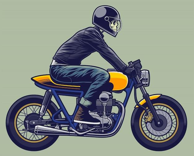 Scheletro di illustrazione del cavaliere del cranio sul motociclo Vettore Premium