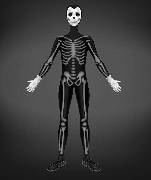 Scheletro o costume di morte per la festa di halloween isolato su sfondo nero. Vettore gratuito