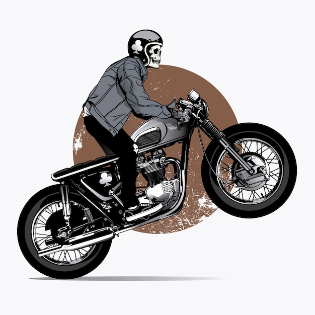Scheletro rigind una moto Vettore gratuito