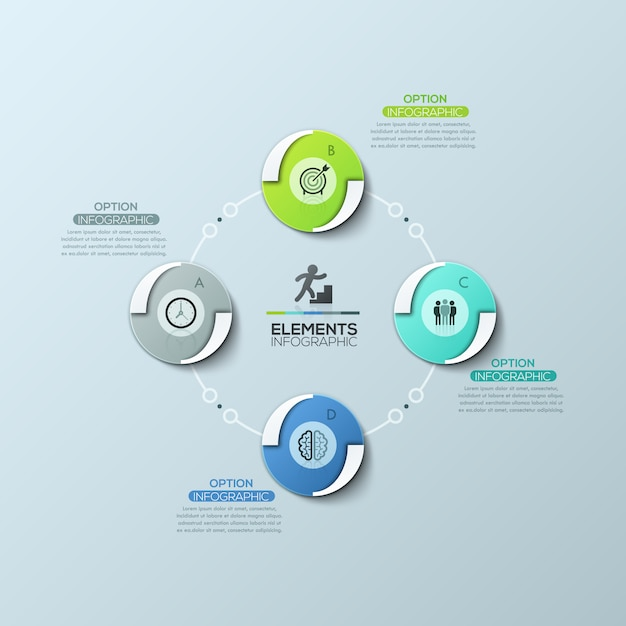 Schema circolare con 4 elementi rotondi uguali collegati da linee e caselle di testo, modello di progettazione infografica moderna Vettore Premium