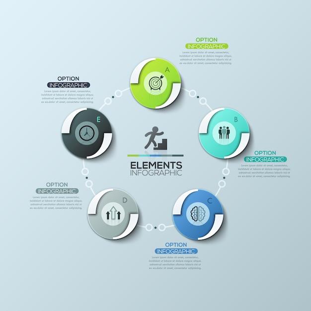 Schema circolare con 5 elementi rotondi collegati da linee e caselle di testo, layout moderno design infografico. Vettore Premium