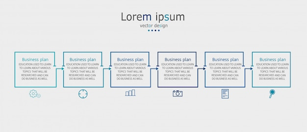 Schema per l'istruzione e le imprese utilizzato anche nell'insegnamento con sei opzioni Vettore Premium