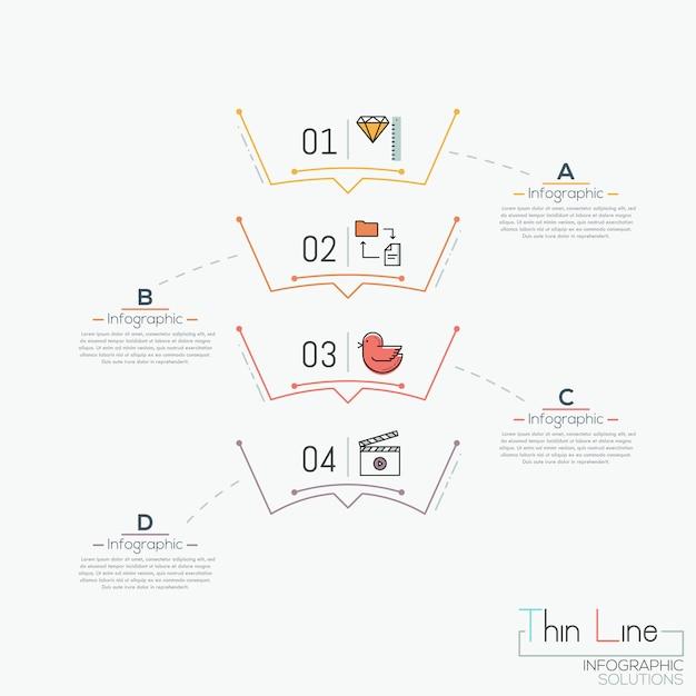 Schema verticale, 4 elementi numerati con pittogrammi Vettore Premium
