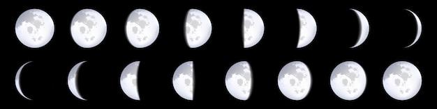Schemi di fasi lunari, calendario lunare, chiaro di luna. Vettore Premium