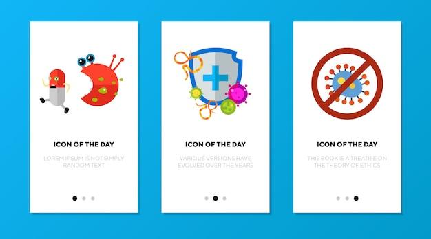 Schermata dell'app impostata con simboli di protezione antibatterica Vettore gratuito
