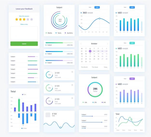 Schermata dell'interfaccia utente con grafici di analisi Vettore Premium