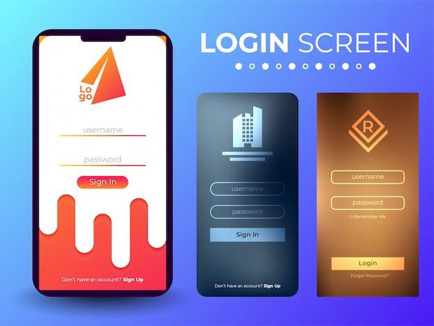 Schermata di accesso mobile ui Vettore Premium