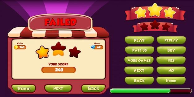 Schermata pop-up del menu livello non riuscito con stelle, caricamento e pulsante Vettore Premium