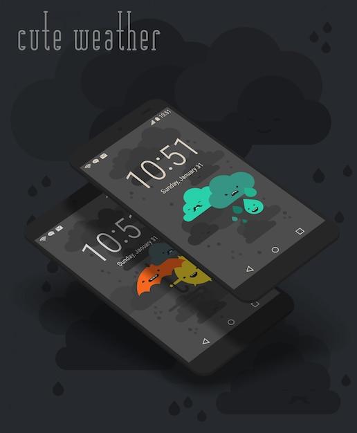 Schermate app meteo moile carino su modelli di smartphone 3d Vettore Premium
