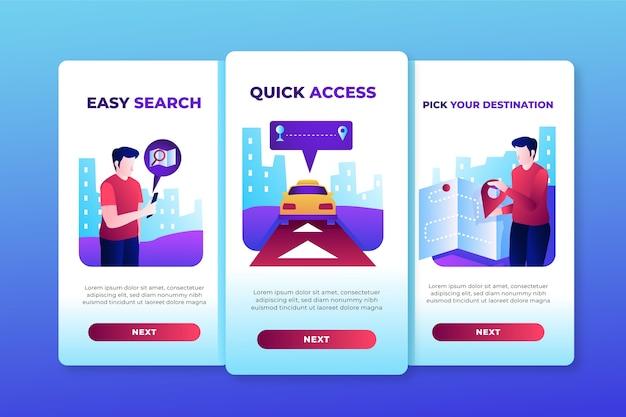 Schermate dell'app di onboarding del servizio taxi (cellulare) Vettore gratuito