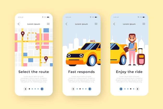 Schermate dell'app di onboarding del servizio taxi Vettore gratuito