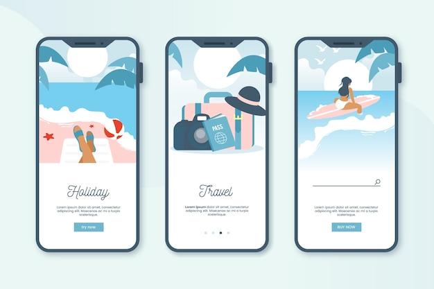 Schermate dell'app di viaggio integrate Vettore gratuito