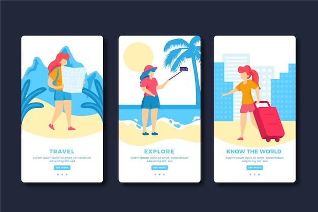 Schermate dell'app per l'onboarding dei viaggi di vacanza Vettore gratuito