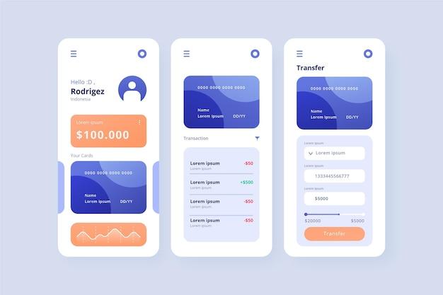 Schermate dell'interfaccia dell'app bancaria Vettore gratuito