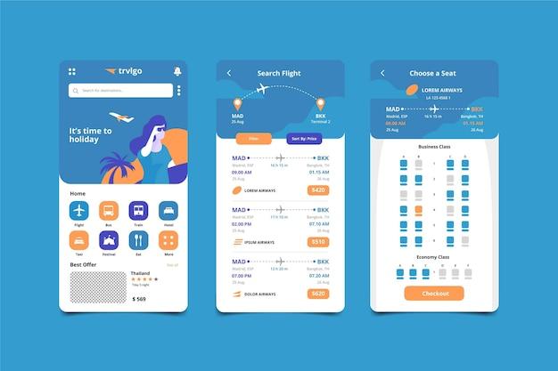 Schermate delle app di prenotazione viaggi Vettore gratuito