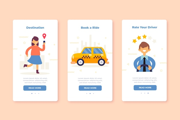 Schermate delle app integrate per il servizio taxi Vettore gratuito