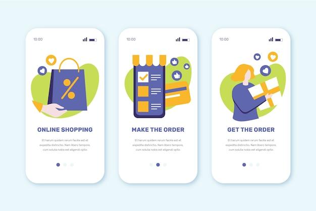 Schermate delle app integrate per l'acquisto online Vettore gratuito