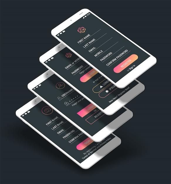 Schermate di accesso e registrazione dell'interfaccia utente dell'app per dispositivi mobili kit di prototipi 3d Vettore Premium